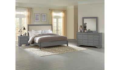 Virginia House Juego de dormitorio King Normandy de cinco piezas – gris francés