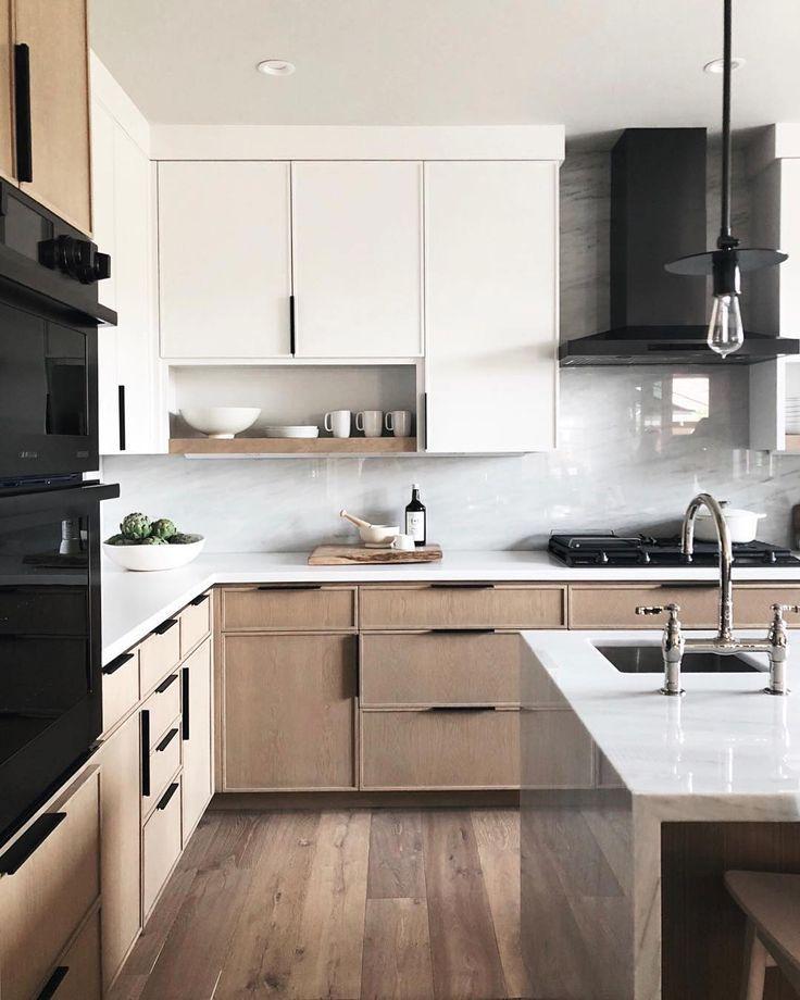 Modern Minimal Black White Tan Kitchen Kitchen Remodel Layout Contemporary Kitchen Design Modern Kitchen