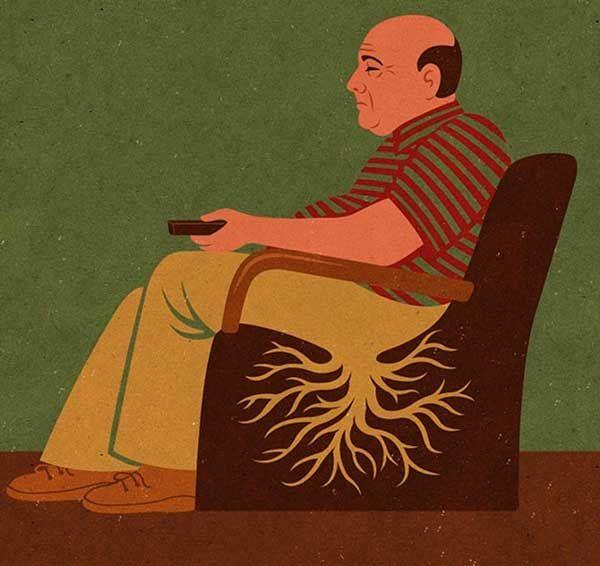 ilustrações satíricas do mundo atual por John Holcroft