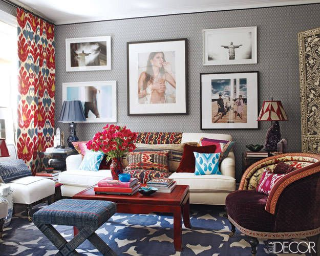 Wonderful mix of colour, patterns, & textures.  |  Sig Bergamin's Pied a Terre in NYC.: Colors Combos, Curtains, Living Rooms, Red, Elle Decor, Blue, Elledecor, Gray Wall, Patterns Mixed