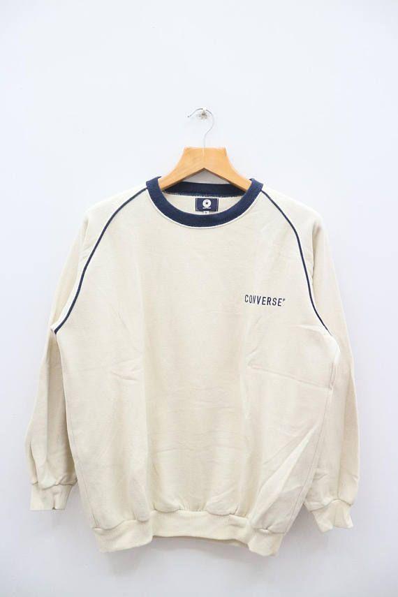 19712079014b Vintage CONVERSE All Star Night Wear Beige Sweater Sweatshirt Size M ...