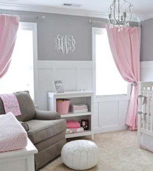 Soft grey and baby pink combined with white is a wining modern combination for a baby girl's first bedroom.