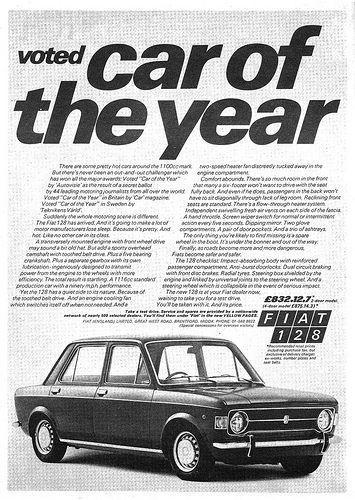 Fiat 128 Ad 1970 Car of the Year. A car that I always wanted, but never bought.