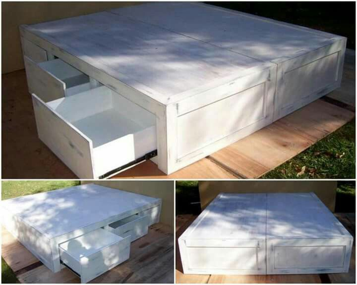 Base de cama con cajones muebles pinterest for Base de cama