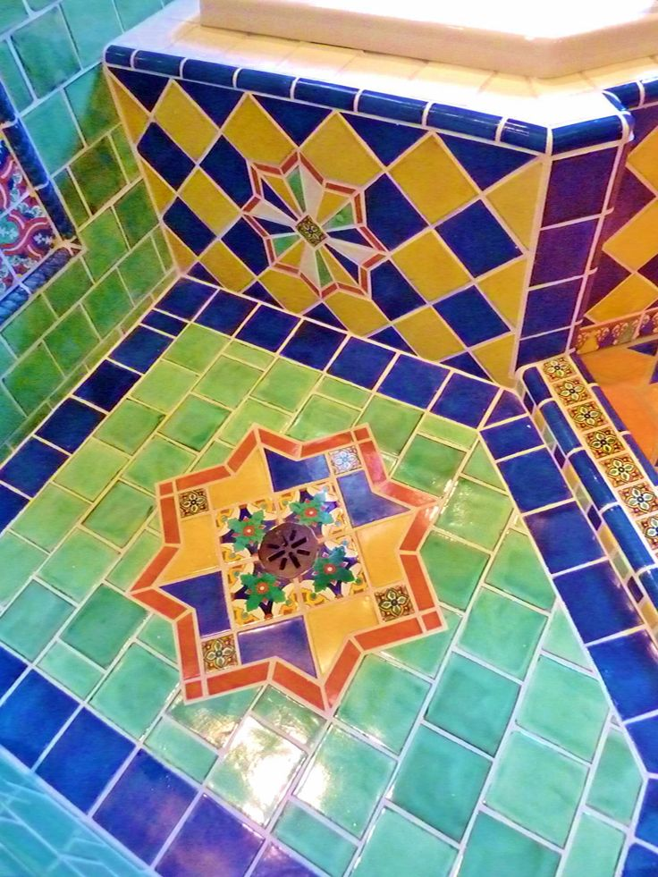 Moroccan themed bathroom shower floor using turkish and for Mexican themed bathroom ideas
