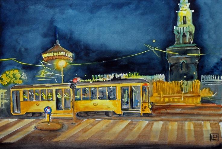 tram al castello Sforzesco-Milano acquerello 35x51 di Lorenza Pasquali n.d.