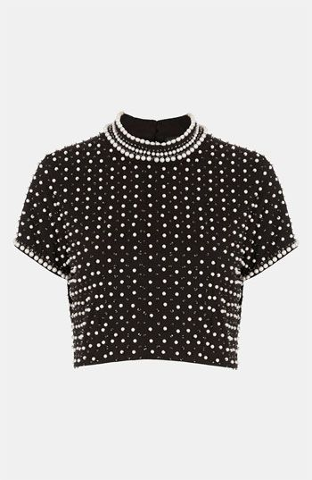 Embellished Crop Top | Topshop at Nordstrom