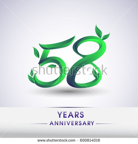 fifty eight years anniversary celebration logotype with leaf and green colored. 58th birthday logo on white background.