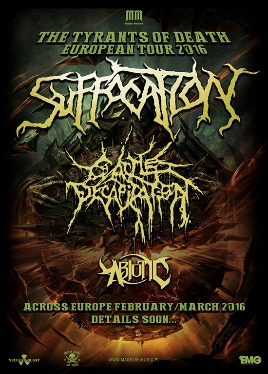 HARD N' HEAVY NEWS: CATTLE DECAPITATION / ABIOTIC - TO SUPPORT SUFFOCATION ON THEIR EUROPEAN TOUR 2016