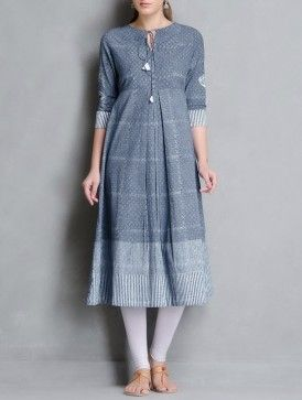 Indigo-White Block Printed Pleated & Tie-Up Detailed Cotton Kurta