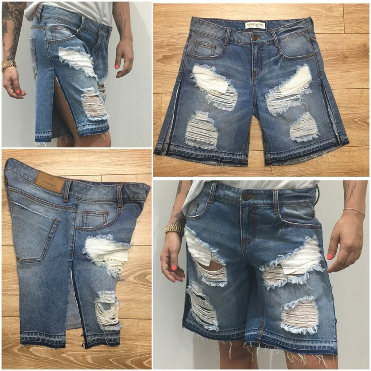 tomboy bermuda jeans, released hem and side seam. Denim shorts with  distressed and destroy