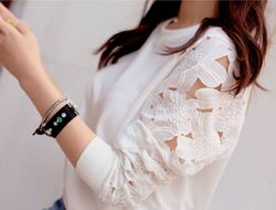 Flower Lace Cutout Sleeves Sweatshirt