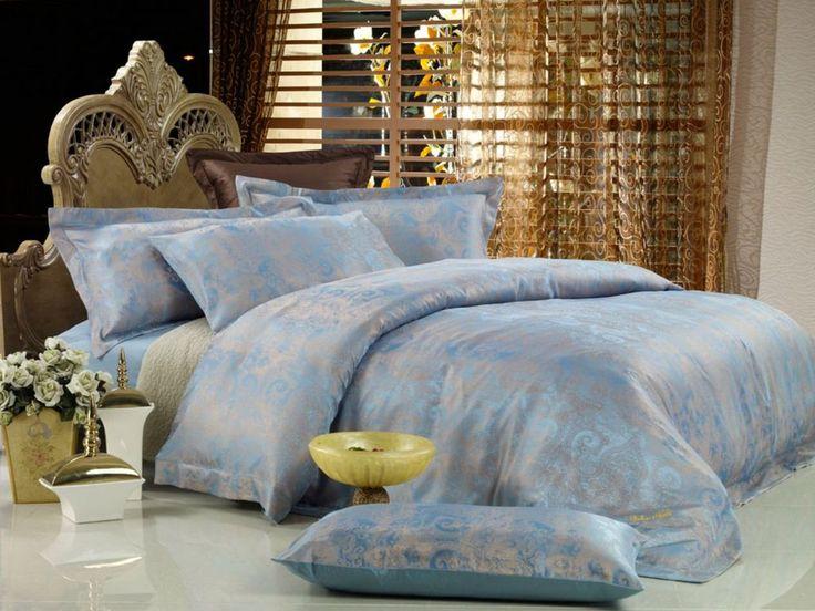 Queen Size Duvet Cover Sheets Set, Fountain Blue