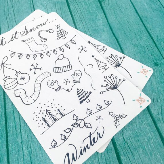 Winter Doodle Stickers by BohoBerryPaperie on Etsy                                                                                                                                                                                 More