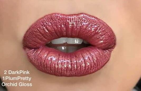 Dark Pink + Plum Pretty & Orchid Gloss LipSense ID# 223905  Email: loveylipswithkate@gmail.com to order.  Kate Marble