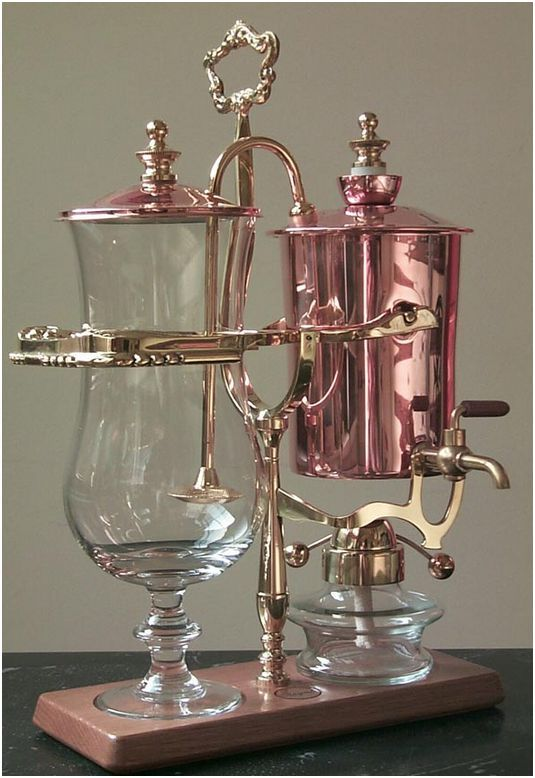 Royal Coffee Maker $643.00  (Copper) - The Royal's patented Balancing Syphon Coffee System is at once the finest coffee making process and a work of art. The 'Glitterati' of the 1850's in Europe demanded not only the finest cuisine but also exquisite workmanship by artisans for even the most utilitarian of objects.