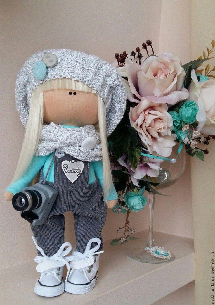 Купить Девочка-фотограф - бирюзовый, серый, микровельвет, вязаная шапочка, кукла ручной работы
