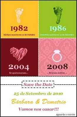 Cronologia do casal: nascimento do noivo, nascimento da noiva, início do namoro, data do casamento, nascimento dos filhos, etc.