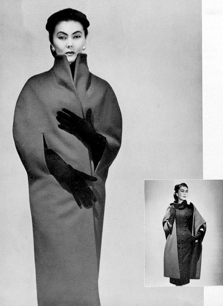 Alla is wearing a narrow blue wool cape by Christian Dior, photo by Georges Saad, 1954