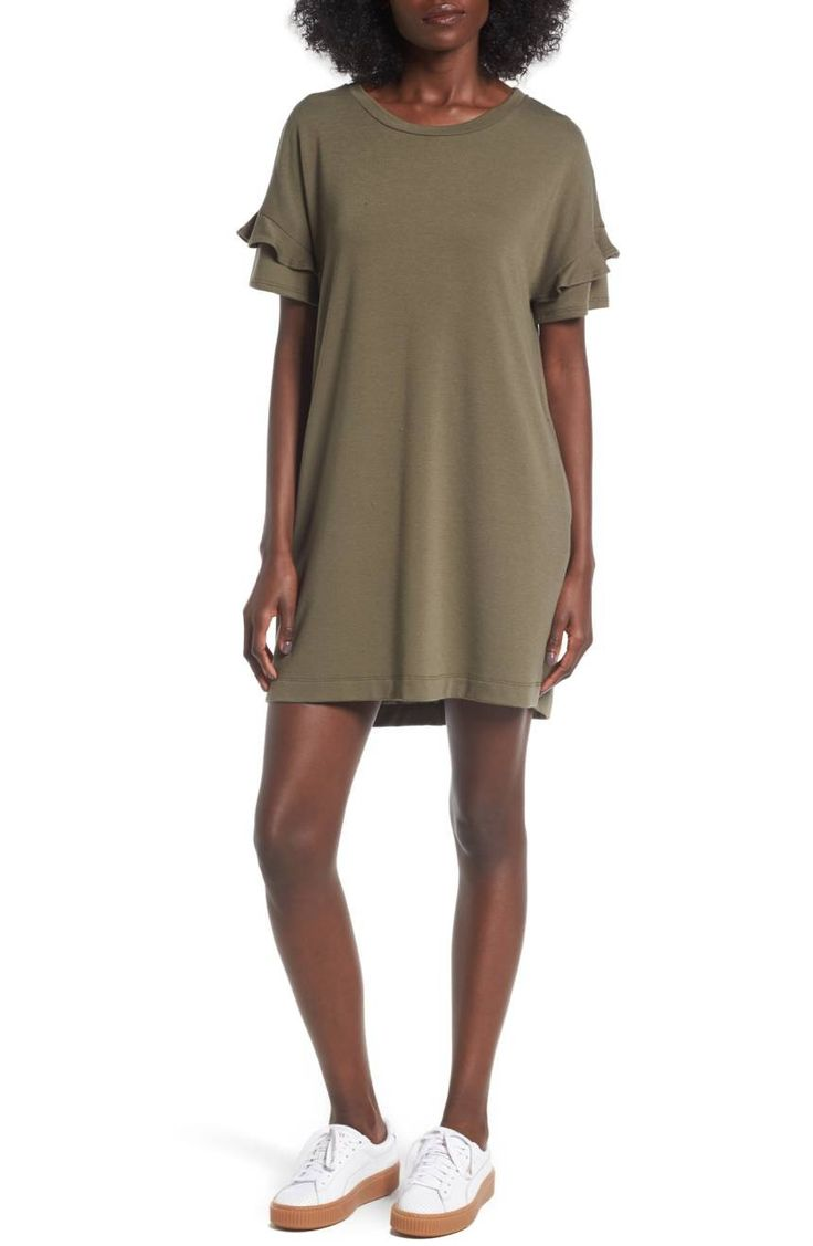 Little ruffles ring around the sleeves of this swingy T-shirt dress, adding playful style to the comfy silhouette.