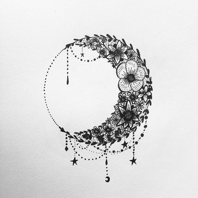 Floral moon Cresent, tattoo design illustration mhairi-stella.com illustration #mhairi-stella