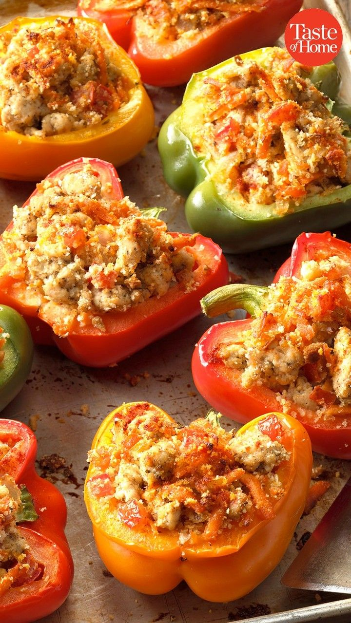 Taste Of Home On Instagram These Well Seasoned Turkey Stuffed Peppers Are So Tasty You Won T Even Miss In 2020 Stuffed Peppers Quinoa Stuffed Peppers Cheesy Recipes