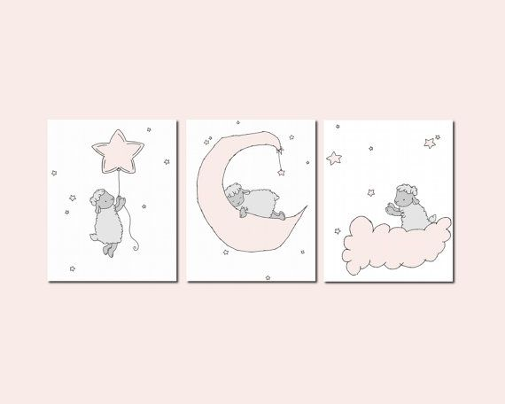 Lamb Nursery Art      a set of prints of lambs in the night sky, with moon and stars, a dreamy addition to your nursery    *Be sure to select