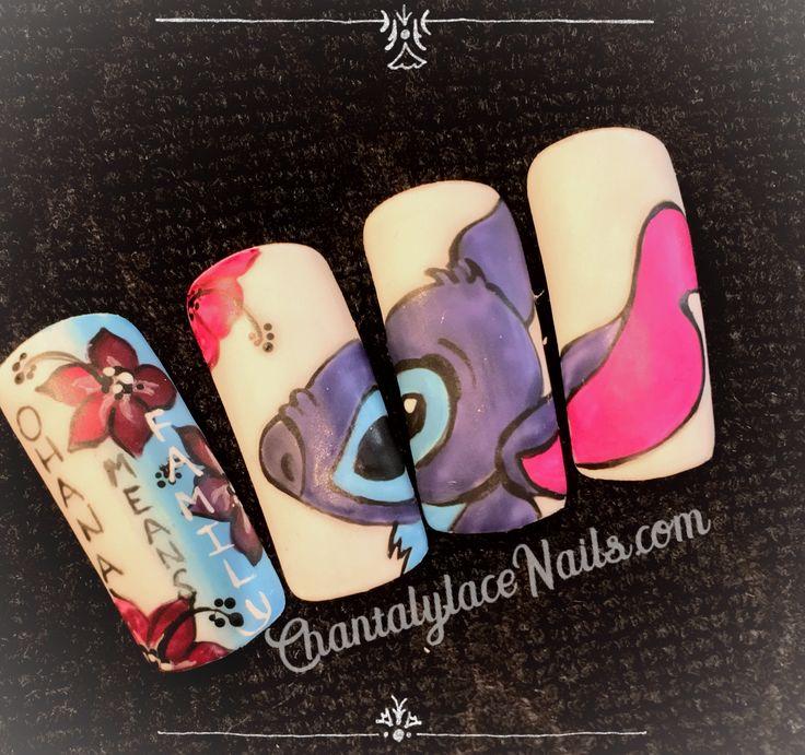 Lilo and Stitch nail art.