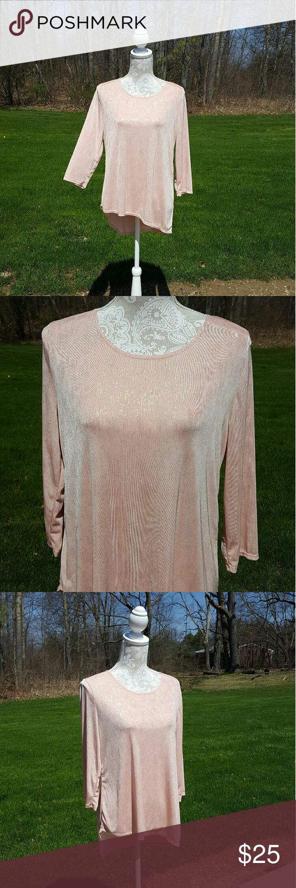 Nwt Chicos Traveler pink and gold long sleeve top New with tags Never worn Chicos size 1 Size small Long sleeves Thin material  Gold glitter throughout  Loose fit Unsymmetrical bottom hem Great for spring  No Trades Chico's Tops Tees - Long Sleeve