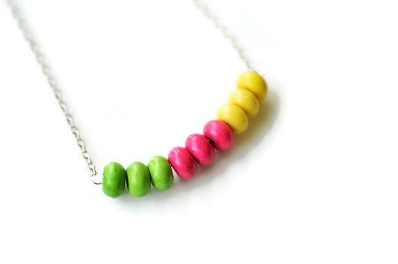 Ceramic Necklace Pink Necklace Green Necklace Silver by harmony5