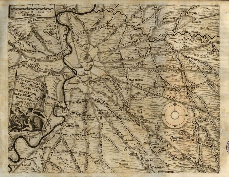 Mappa dei dintorni della città di Roma con l'indicazione di strade, acquedotti e toponimi #roma #lazio #strada #acquedotto #mappa #illustrazione