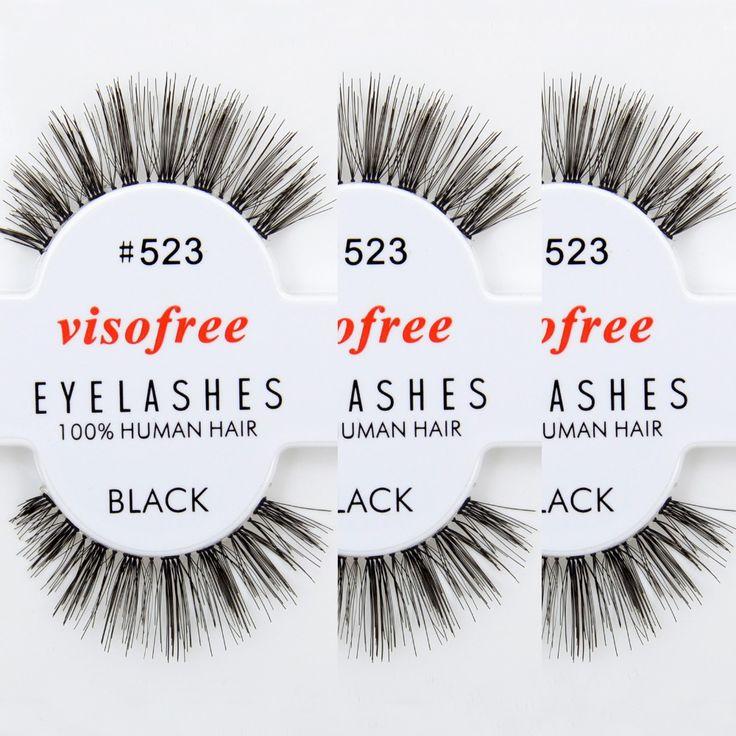 12 paires/lot Visofree Cils 100% Fait Main de Cheveux Humains Faux Cils de La Nature en Désordre Eye Lashes #523 maquiagem
