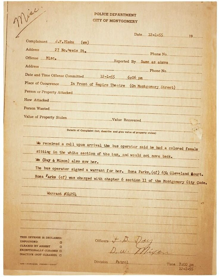 Rosa Parks Police Report