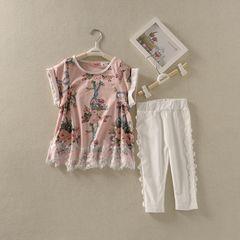 Девушки летом новый ретро печати с короткими рукавами футболки патч случайные штаны двухсекционный костюм младенца прилива 803