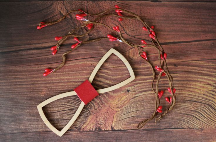 Wooden Bow Tie with red leather. Standard size for men and Small size for women…
