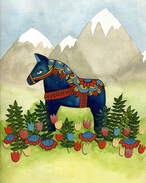 Folk Inspired Painting - Dala Horse by papersparrow, via Flickr