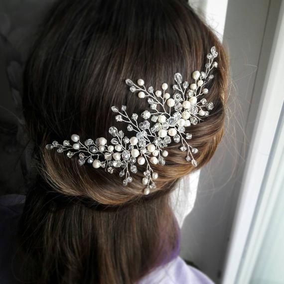 Navy blue pearl tiara Dark Blue pearl headband Navy wedding hair accessory Navy blue bridesmaid hair accessory Pearl cluster tiara