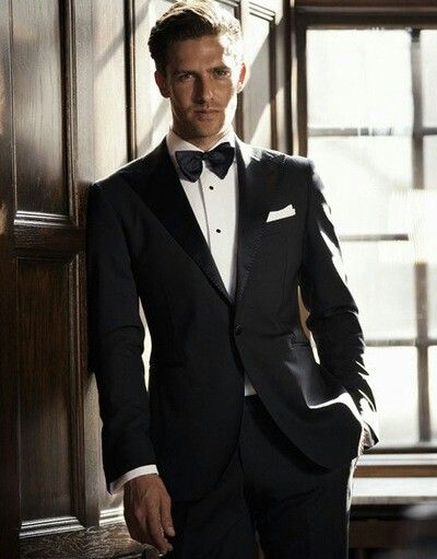 All Black Tuxedo With Red Bow Tie Prom