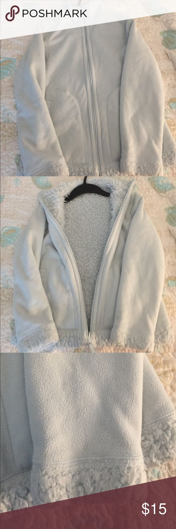 Uniqlo blue jacket xs reversible Reversible female xs uniqlo jacket. Super soft and comfortable. Clean, well cared for. Will ship fast Uniqlo Jackets & Coats
