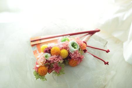 和装の扇ブーケ 都ホテルさまへ プリザーブド: 一会 ウエディングの花