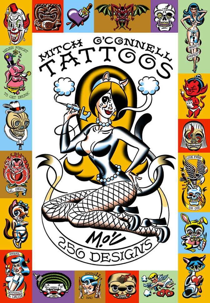 The book contains 250 tattoo designs, the best of O'Connell's 3 sets of tattoo flash. http://amzn.to/PDslqU $10.17