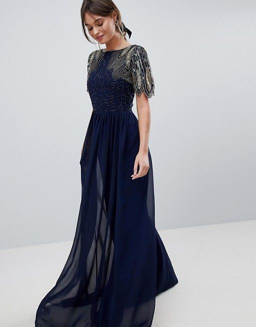 c6f40a3ad9 Virgos Lounge lena maxi dress with embellishment in navy