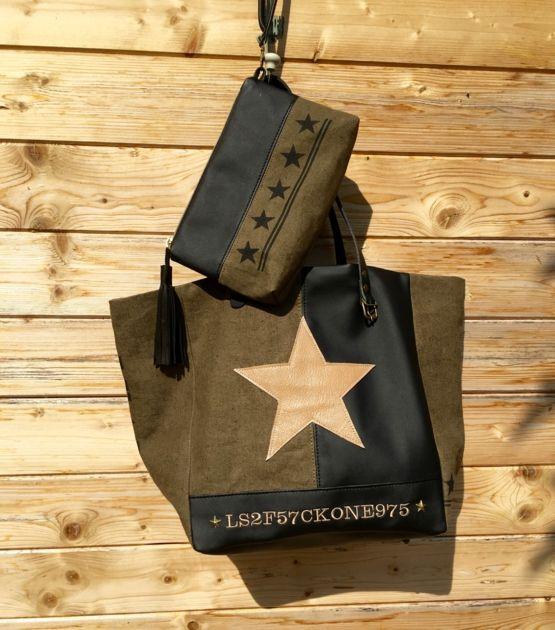 Sac cabas toile militaire vintage kaki et simili cuir noir etoile beige - sac a main femme et accessoires Sacs a main, sac cabas - Valenteens Createurs