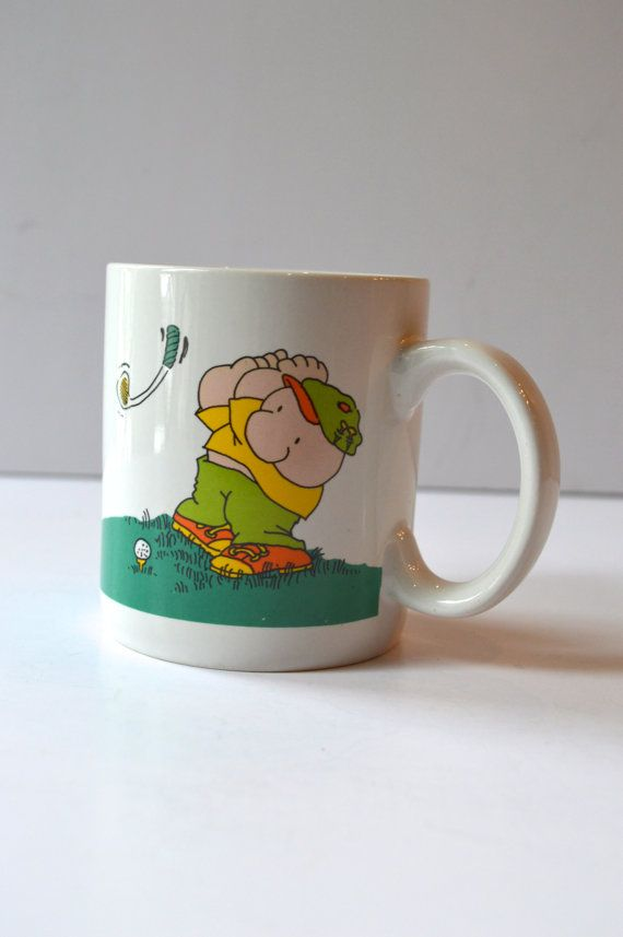 Ziggy Mug Golfer Duffer Vintage Cartoons Collectable Mug    - 3 3/4 H x 3 Diameter  - very good vintage condition - one spot with a bit of paint loss