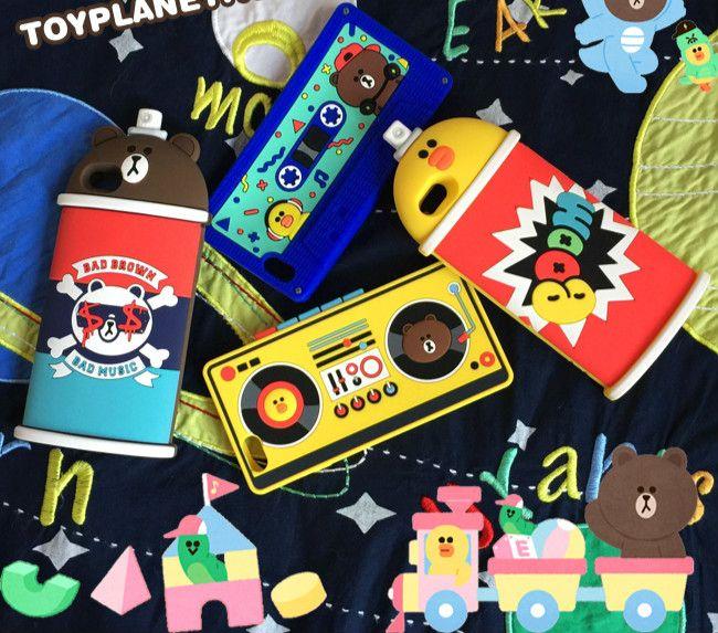 iphone8/7/6splus ケース 人気韓国ライン熊クマ雛ひよこレコーダー録音機テープスプレー型8 plus磁気テープ外観アイフォン7plus/8/6sブラウン携帯カバー保護ジャケットlineか