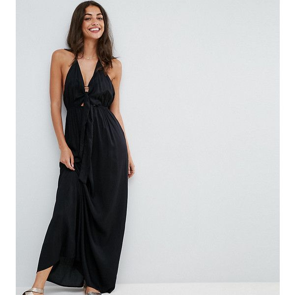 ASOS TALL Woven Tie Front Maxi Beach Dress (330 HKD) ❤ liked on Polyvore featuring dresses, black, halter dress, open back halter top, open-back maxi dresses, open-back dresses and tall maxi dresses