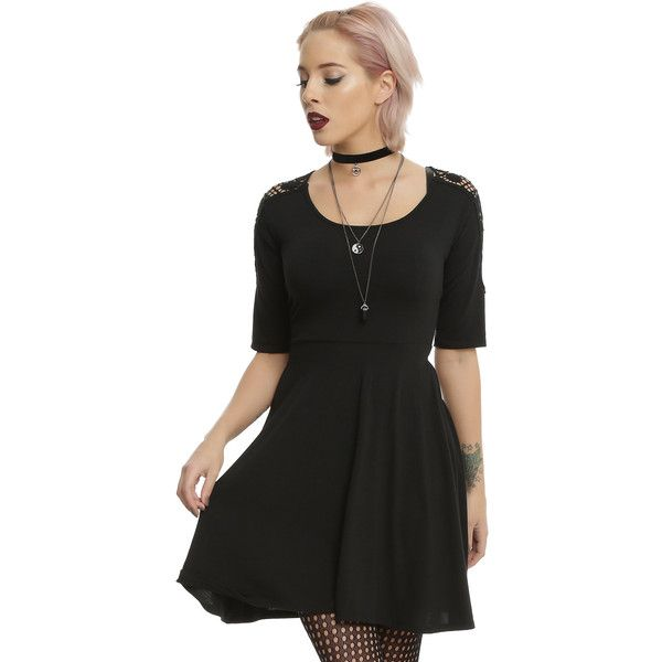 Hot Topic Black Crocheted Back Shirt Sleeve Skater Dress ($21) ❤ liked on Polyvore featuring dresses, crochet sleeve dress, macrame dress, elbow sleeve dress, sleeved dresses and scoop neck skater dress