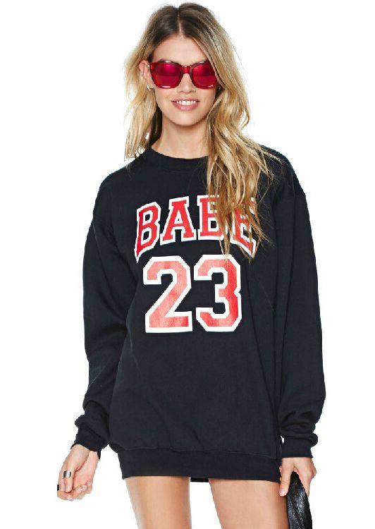 Black Round Neck Long Sleeve BABE 23 Print Sweatshirt 15.11