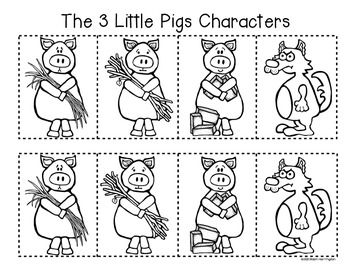3 Little Pigs {Retelling a Story} Storyboard and Character Fun! Blackline and Color copies included. $