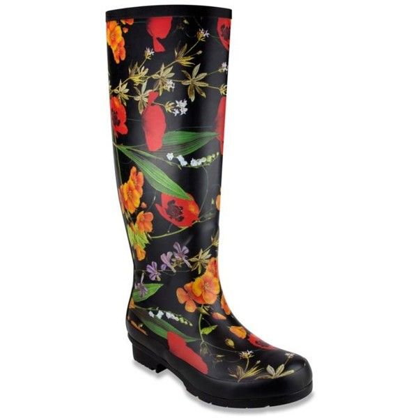London Fog Black Floral Totty Rainboot - Women's ($79) ❤ liked on Polyvore featuring shoes, boots, black floral, black floral boots, black wellington boots, black rain boots, black boots and flower print shoes